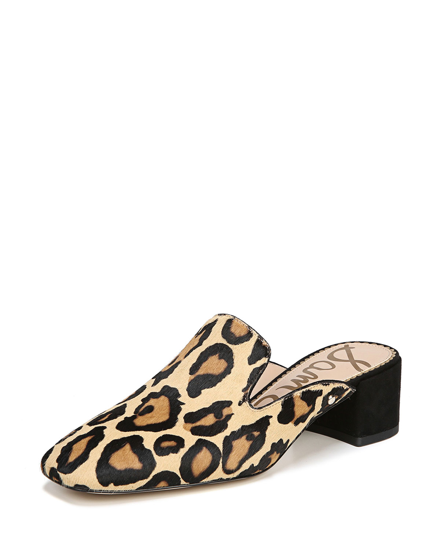 4351f85426a Sam Edelman Adair Leopard-Print Block-Heel Mule