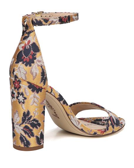 Yaro Chunky-Heel Jacquard Ankle-Wrap Sandal