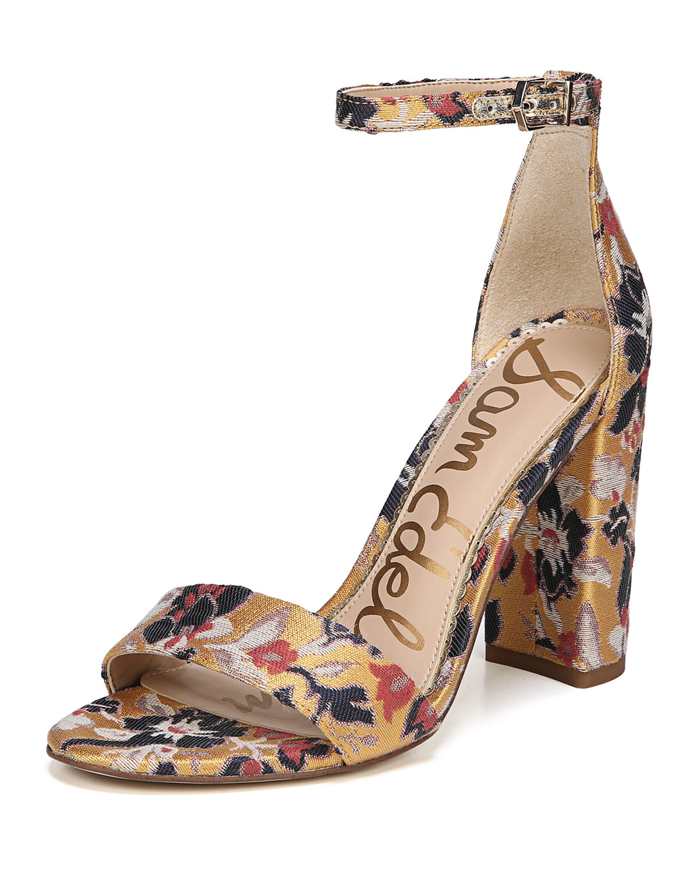 345c9f16b5b Sam Edelman Yaro Chunky-Heel Jacquard Ankle-Wrap Sandal