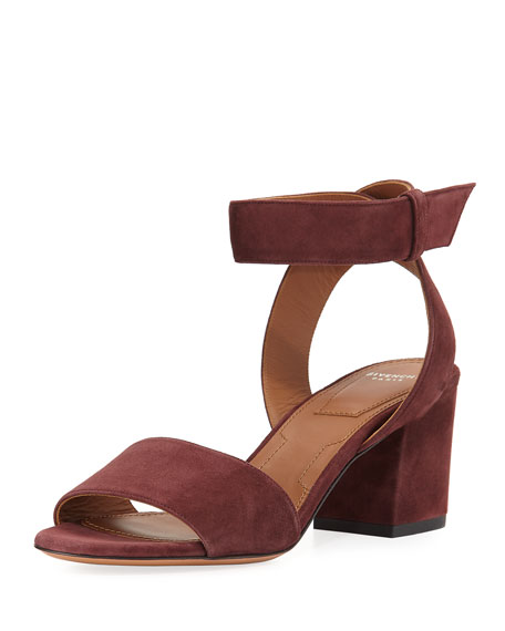 Givenchy Paris Suede Ankle-Wrap Sandal