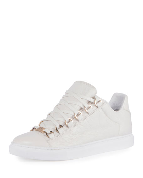 Crackled Leather Lace-Up Sneakers