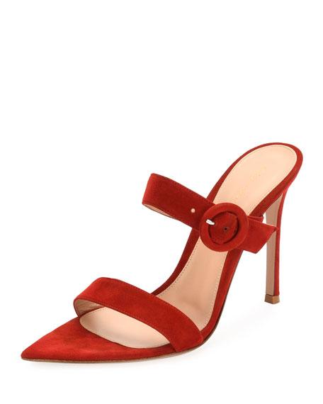 Suede Slide Buckle Sandal
