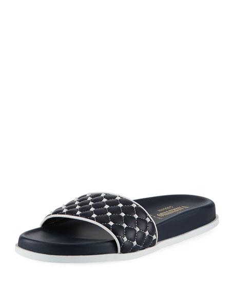 Valentino Garavani Rockstud Quilted Pool Slide Sandal