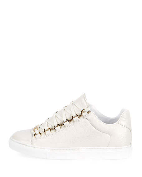 Crinkled Leather Lace-Up Sneakers