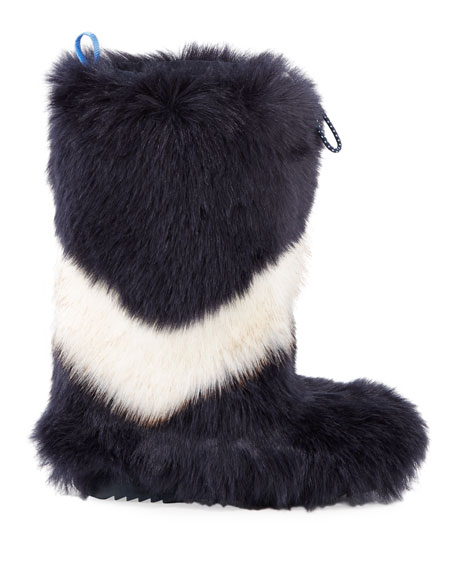 TORY SPORT Leathers CHEVRON FAUX-FUR TALL BOOTS