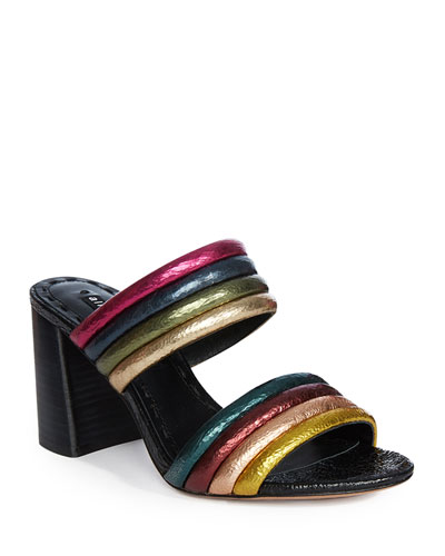 Lori Metallic Colorblock Slide Sandals