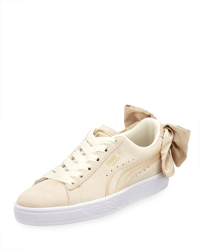 Varsity Suede Low-Top Sneakers with Bow Back, Marshmallow/Gold