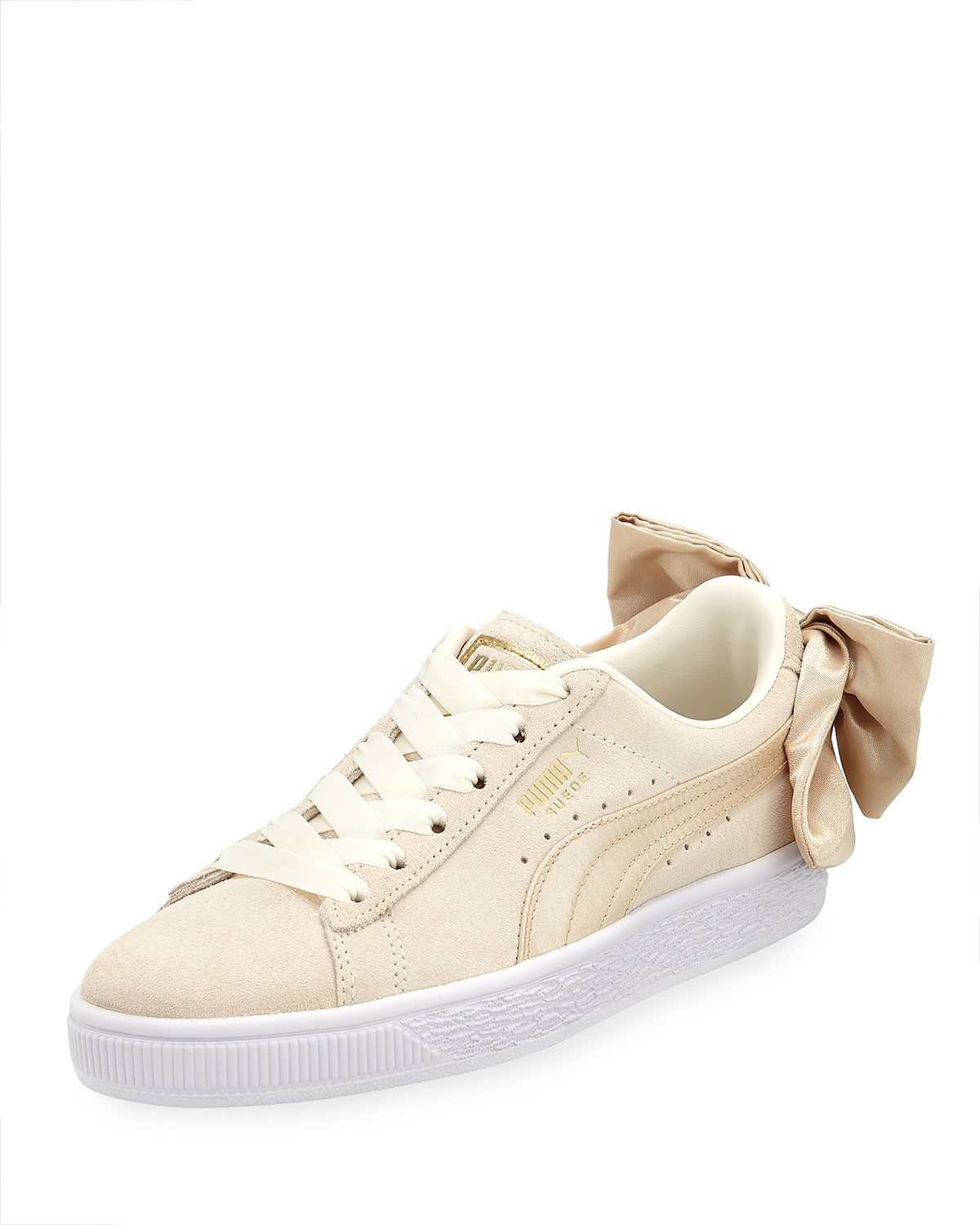 Varsity Puma Suede Back With Marshmallowgold Bow Low Top Sneakers 4wdCrwqP