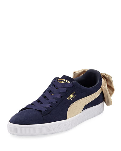 Varsity Suede Low-Top Sneakers with Bow Back, Navy/Gold