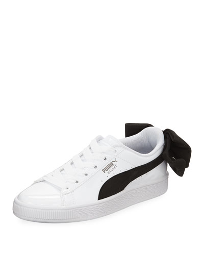 Basket Bow Two-Tone Leather Sneakers