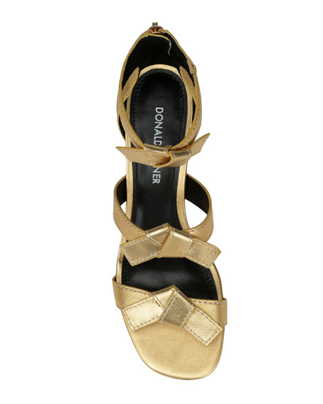 Cady Metallic Leather Bow Sandals