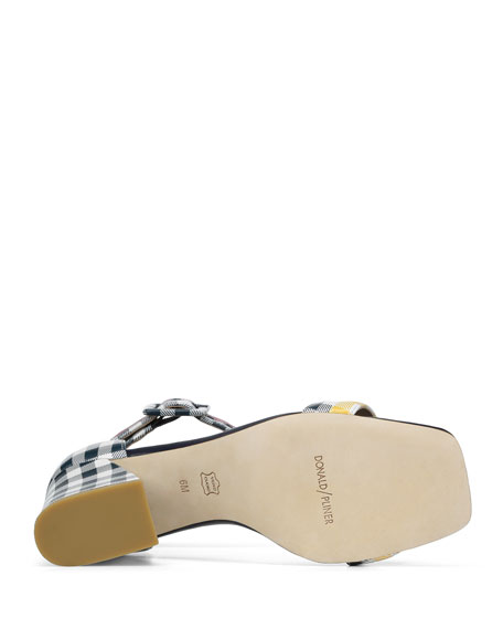 Watson Multi-Gingham Block-Heel Sandals