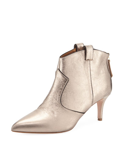 Lexi Metallic Leather Western Ankle Booties