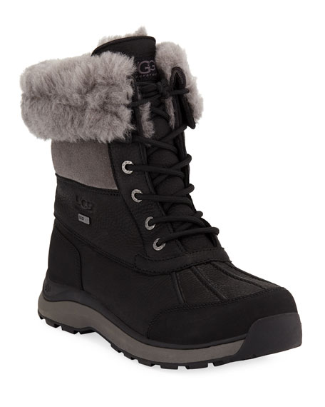 Adirondack Ankle Boots With Suede, Leather And Shearling in Black