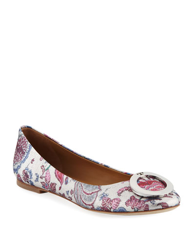 Caterina Ring-Buckle Floral Jacquard Ballet Flats