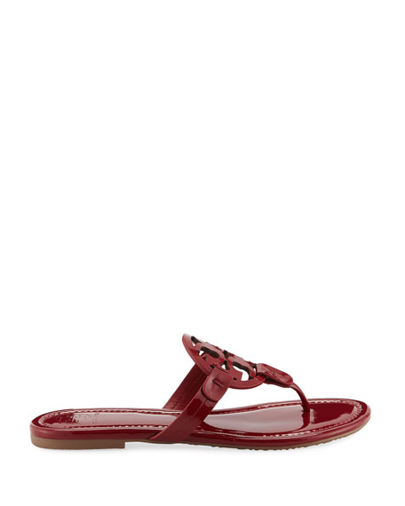 Miller Medallion Patent Leather Flat Thong Sandals