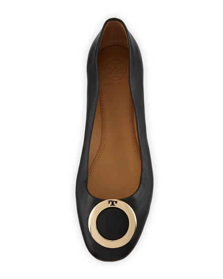Caterina Ring-Buckle Leather Ballet Flats