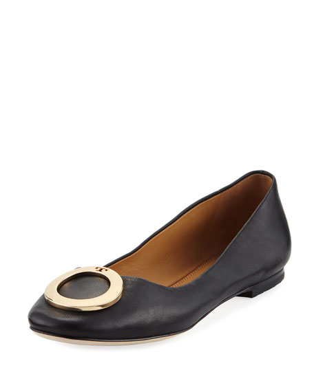 Tory Burch Caterina Ring-Buckle Leather Ballet Flats