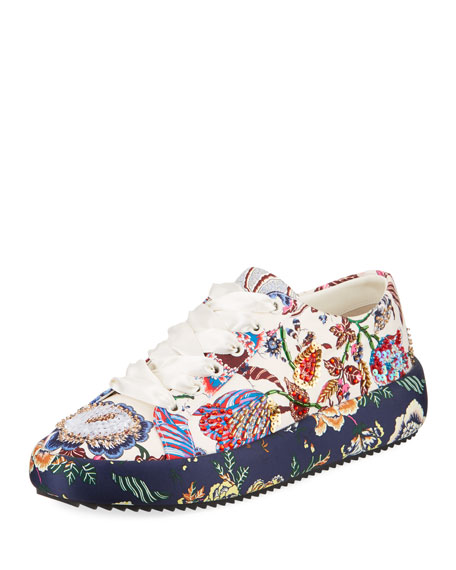 Tory Burch Kacey Embellished Floral Leather Low-Top Sneakers