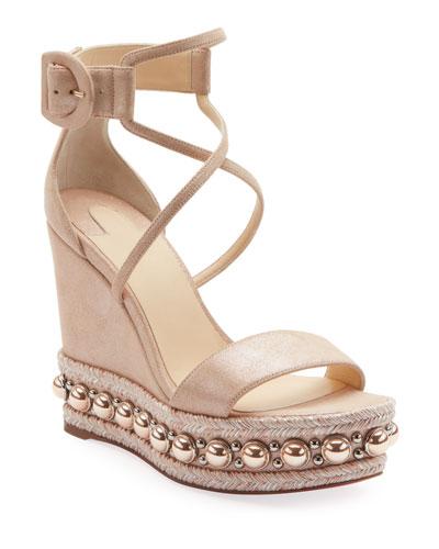 Chocazeppa Metallic Suede Wedge Red Sole Espadrille Sandals