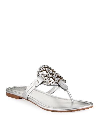 Miller Flat Metallic Leather Slide Sandals with Embellished Logo