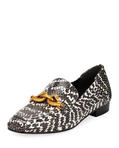 Jessa Snakeskin Printed Loafers w/ Horse Hardware