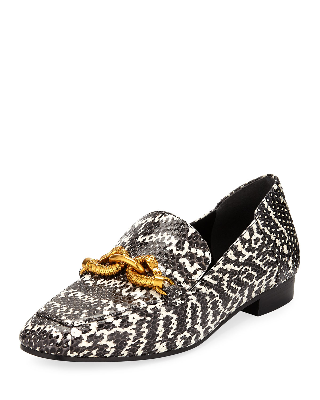 208fce5341d Tory Burch Jessa Snakeskin Printed Loafers w  Horse Hardware ...