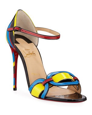 a33cee367e8a Christian Louboutin Valparaiso Colorblock Patent Red Sole Sandals