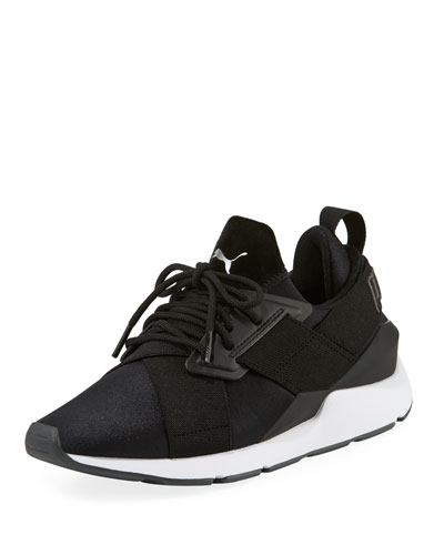 Women's Muse Satin II Sneakers, Black/Asphalt