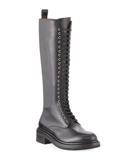 Alice Tall Leather Combat Boots in Black Leather