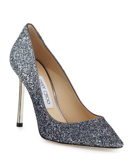 Jimmy Choo Romy Gradient Glitter Pointed-Toe 100mm Pump