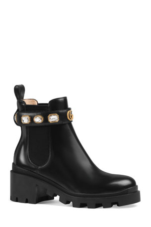 Gucci Trip Leather Chelsea Boots