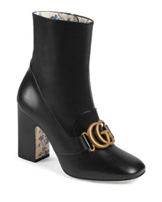 Gucci Smooth Leather Gg Booties by Gucci