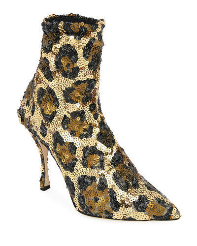 Leopard Sequin Pointed Booties
