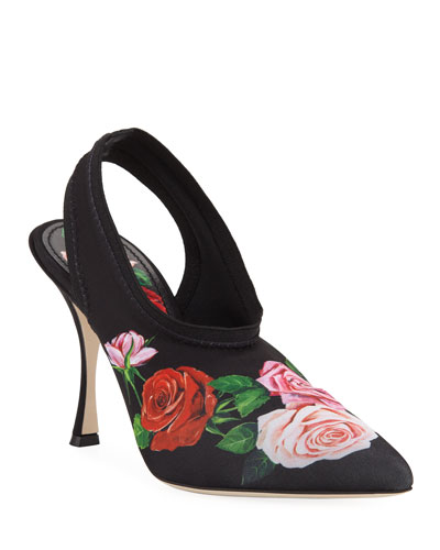 Rose-Print Jersey Slingback Pumps