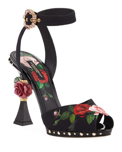Rose-Print High Sandals