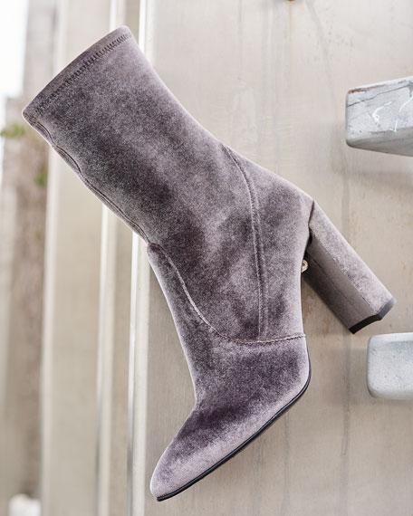Clinger Stretch-Velvet Mid-Calf Boot