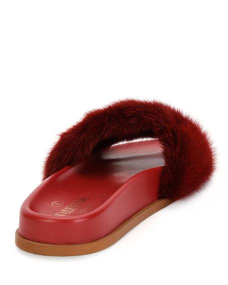 Rockstud Flat Fur Slide Sandals