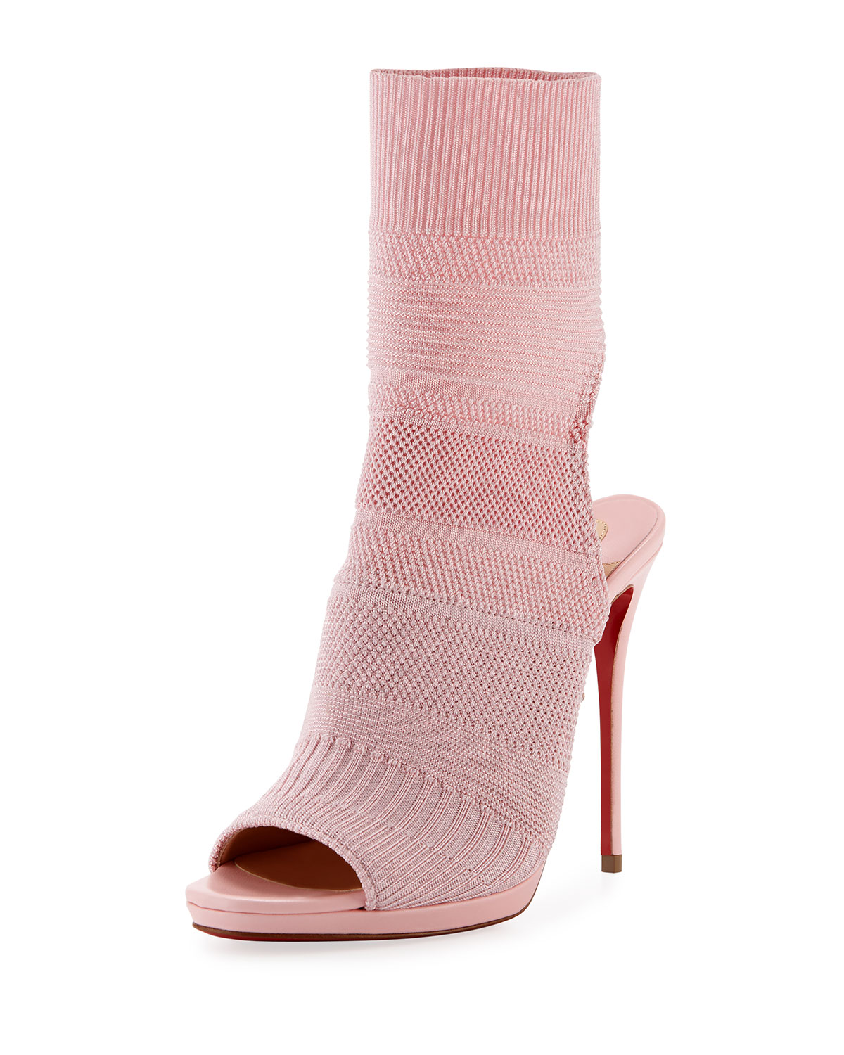 9dcb06f4f705 Christian Louboutin Cheminene Stretch-Knit Open-Toe Red Sole Bootie ...
