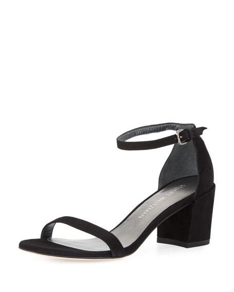 Stuart Weitzman Simple Suede Chunky-Heel City Sandal