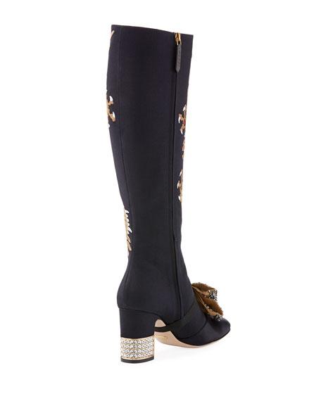 Dragon Embroidered Block-Heel Knee Boot