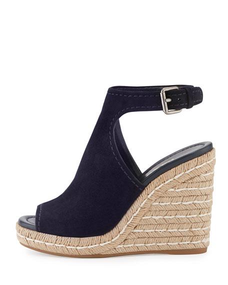 Suede Open-Toe Espadrille Glove Sandal