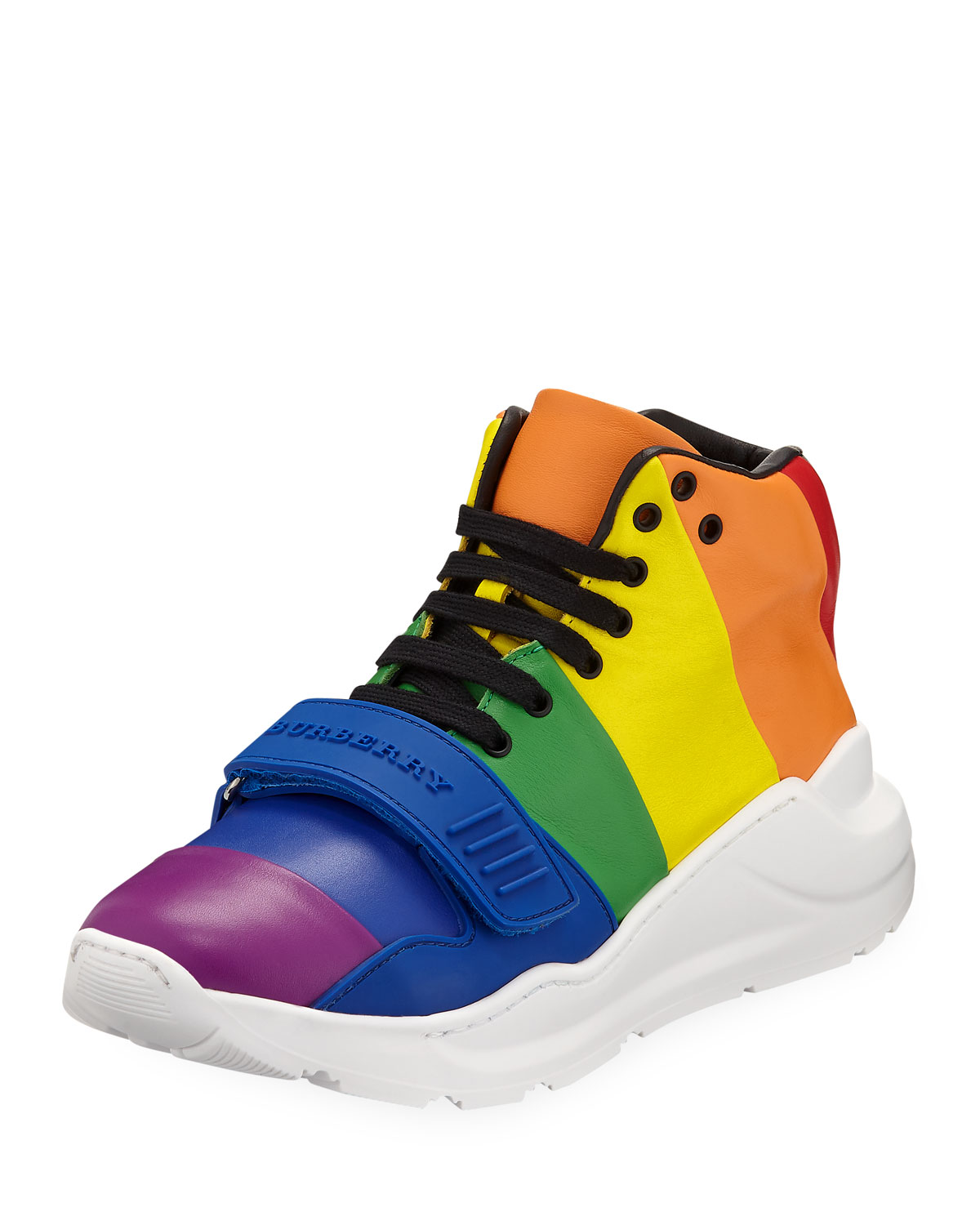 9d0f614b21ffc6 Burberry Regis Rainbow Stripe High-Top Sneakers