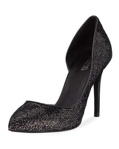 Claire Sequined Leather d'Orsay Pumps