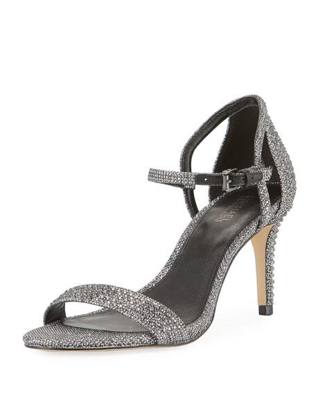 Simone Glitter Chain Mesh Sandals, Black/Silver