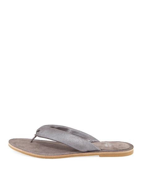 Flue Flat Metallic Leather Thong Sandal