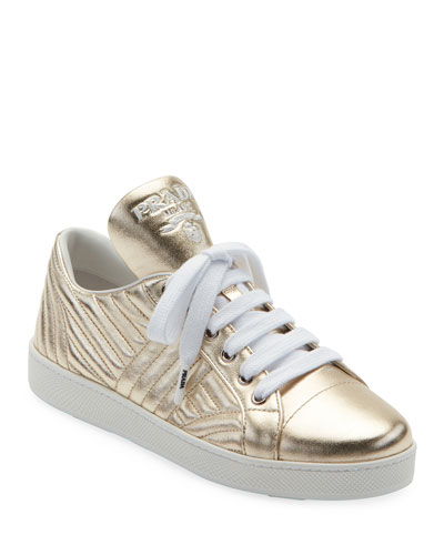 Quilted Metallic Leather Sneakers