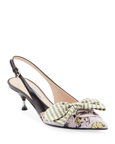 Prada Fabric & Leather Kitten-Heel Slingback Pumps with