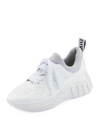 Perforated Patent Leather Sneakers