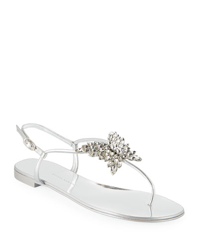 Flat Metallic Leather Thong Sandals with Butterfly